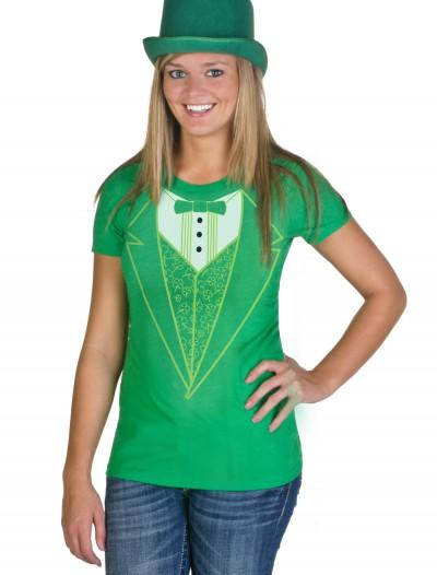 Womens Green Tuxedo Costume T-Shirt, halloween costume (Womens Green Tuxedo Costume T-Shirt)