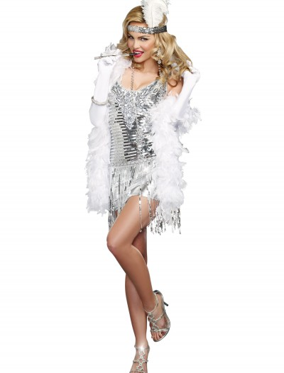 Women's Life of the Party Silver Flapper Costume, halloween costume (Women's Life of the Party Silver Flapper Costume)