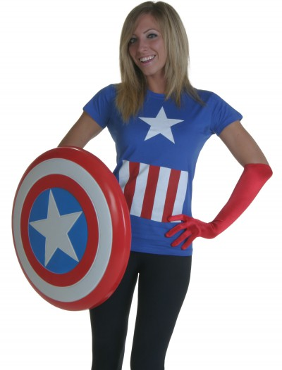 Womens Marvel Captain America T-Shirt, halloween costume (Womens Marvel Captain America T-Shirt)