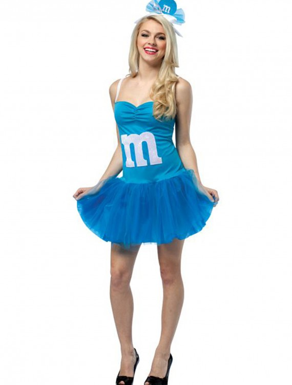 Womens M&M Blue Party Dress, halloween costume (Womens M&M Blue Party Dress)