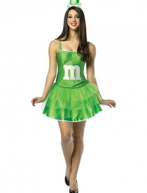 Womens M&M Green Party Dress, halloween costume (Womens M&M Green Party Dress)