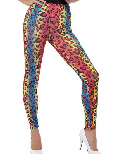 Womens Neon Leopard Print Leggings, halloween costume (Womens Neon Leopard Print Leggings)