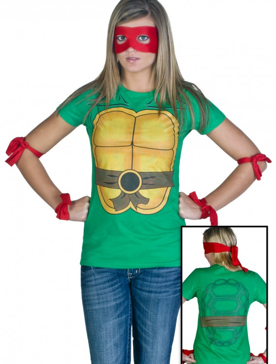 Womens Ninja Turtle T-Shirt, halloween costume (Womens Ninja Turtle T-Shirt)