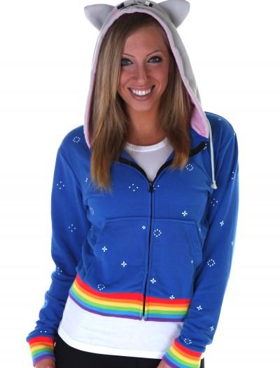 Womens Nyan Cat Hoodie, halloween costume (Womens Nyan Cat Hoodie)