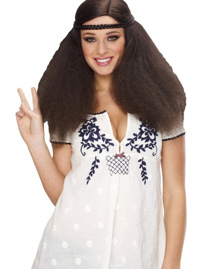 Womens Peace Brown Wig, halloween costume (Womens Peace Brown Wig)