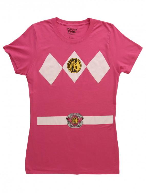 Womens Pink Power Ranger Costume T-Shirt, halloween costume (Womens Pink Power Ranger Costume T-Shirt)
