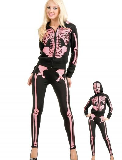 Women's Pink Skeleton Hooded Sweatshirt, halloween costume (Women's Pink Skeleton Hooded Sweatshirt)