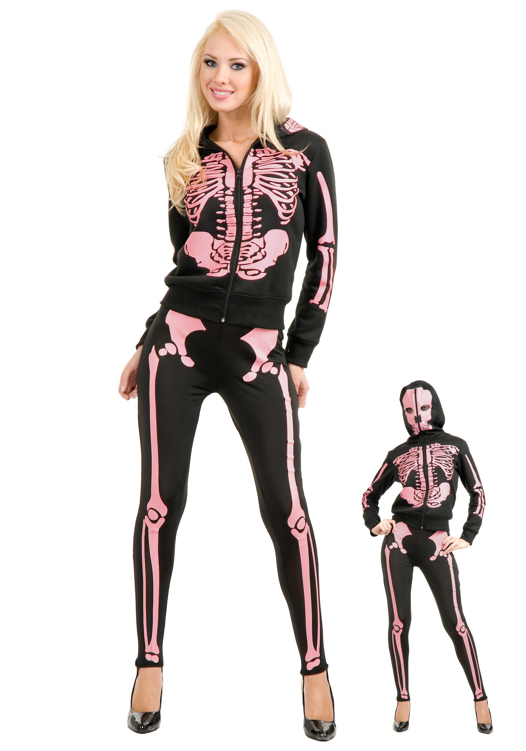 2248e3b8781d9 Women's Pink Skeleton Hooded Sweatshirt