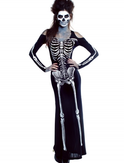 Womens Plus Size Bone Appetit Skeleton Long Dress, halloween costume (Womens Plus Size Bone Appetit Skeleton Long Dress)