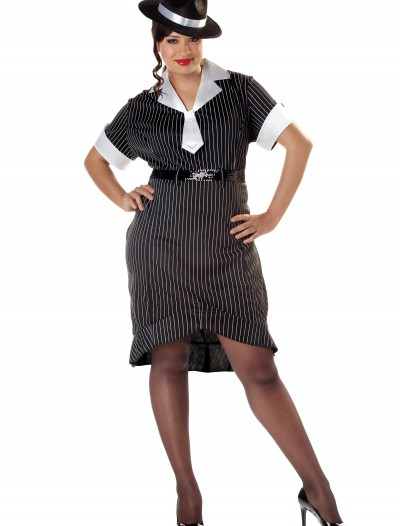 Women's Plus Size Flirty Gangster Costume, halloween costume (Women's Plus Size Flirty Gangster Costume)