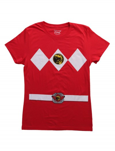 Womens Red Power Ranger Costume T-Shirt, halloween costume (Womens Red Power Ranger Costume T-Shirt)