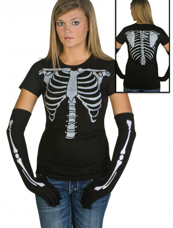 Womens Skeleton Costume T-Shirt, halloween costume (Womens Skeleton Costume T-Shirt)
