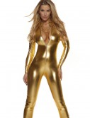 Womens Solid Gold Mock Neck Jumpsuit, halloween costume (Womens Solid Gold Mock Neck Jumpsuit)