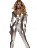 Womens Solid Silver Mock Neck Jumpsuit, halloween costume (Womens Solid Silver Mock Neck Jumpsuit)