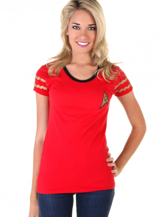 Womens Star Trek Starfleet Red Costume T-Shirt, halloween costume (Womens Star Trek Starfleet Red Costume T-Shirt)