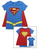 Womens Super Girl V-Neck Cape T-Shirt, halloween costume (Womens Super Girl V-Neck Cape T-Shirt)
