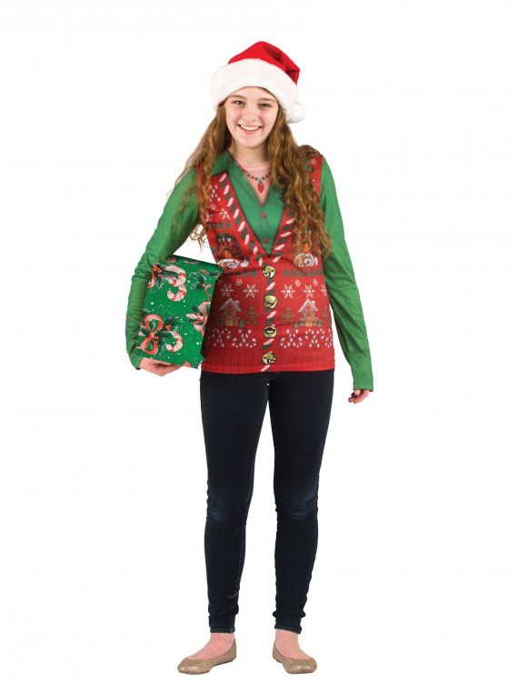 Womens Ugly Christmas Sweater Vest, halloween costume (Womens Ugly Christmas Sweater Vest)