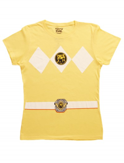 Womens Yellow Power Ranger Costume T-Shirt, halloween costume (Womens Yellow Power Ranger Costume T-Shirt)