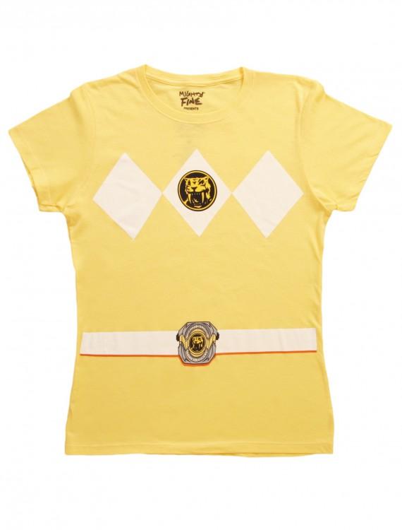 Womens Yellow Power Ranger Costume T-Shirt, halloween costume (Womens Yellow Power Ranger Costume T-Shirt)