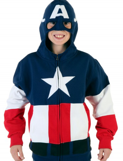 Youth Captain America Hoodie, halloween costume (Youth Captain America Hoodie)