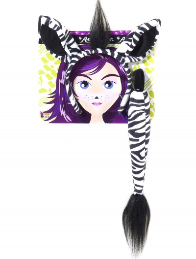 Zebra Ears and Tail Kit, halloween costume (Zebra Ears and Tail Kit)