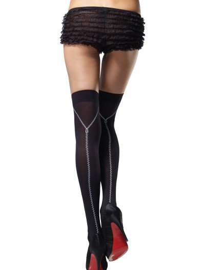 Zipper Print Thigh High Stockings, halloween costume (Zipper Print Thigh High Stockings)