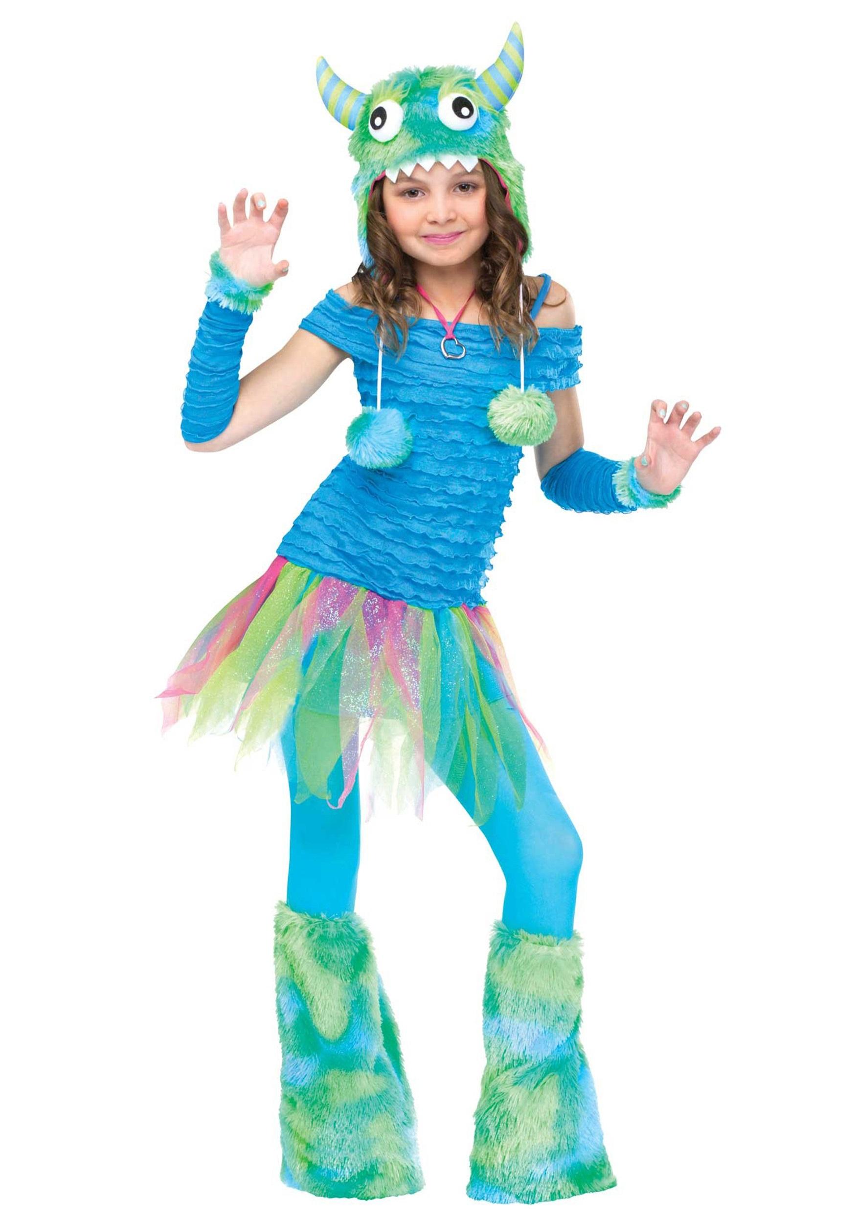 Girls Blue Beastie Monster Costume - Halloween Costumes