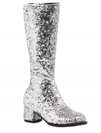Girls Silver Glitter Go-Go Boots, halloween costume (Girls Silver Glitter Go-Go Boots)