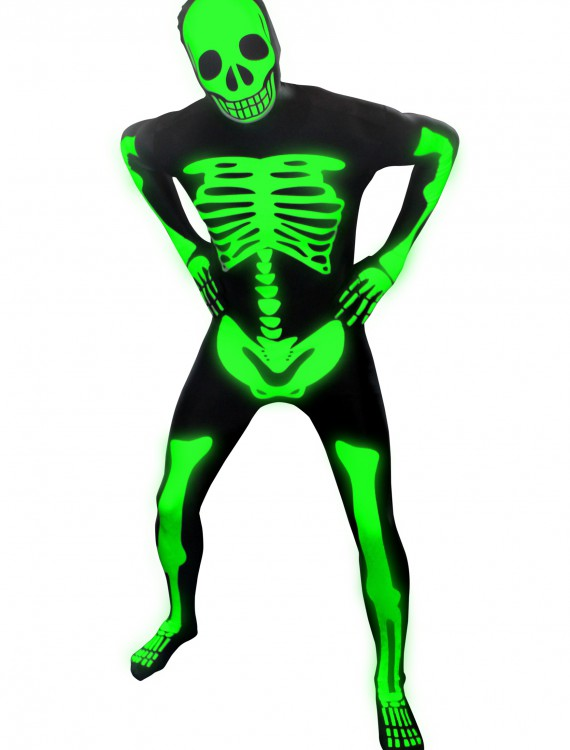 Mens Glow Skeleton Morphsuit, halloween costume (Mens Glow Skeleton Morphsuit)