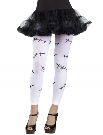Stitched Footless Tights White, halloween costume (Stitched Footless Tights White)